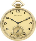Timepieces:Pocket (post 1900), Hamilton 14k Gold 23 Jewel Grade 923. ...