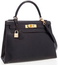 Luxury Accessories:Bags, Hermes 28cm Black Calf Box Leather Sellier Kelly Bag with GoldHardware . ...