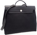 Luxury Accessories:Bags, Hermes Black Vache Leather & Canvas Herbag MM Shoulder Bag. ...