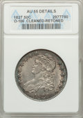 Bust Half Dollars: , 1827 50C Square Base 2 -- Retoned, Cleaned -- ANACS. AU55 Details.O-106. NGC Census: (206/829). PCGS Population (279/617)...