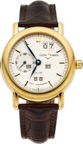 """Timepieces:Wristwatch, Ulysse Nardin """"150th Anniversary Perpetual Calendar, Ludwig Ref. 311-22 Gold Automatic, No. 136/150. ..."""