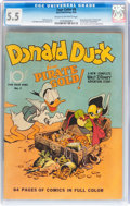 Golden Age (1938-1955):Cartoon Character, Four Color #9 Donald Duck (Dell, 1942) CGC FN- 5.5 Cream tooff-white pages....