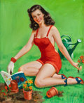 Pin-up and Glamour Art, MARSHALL DAWSON (MARK) MILLER (American, 1919-2008). Pin-Up inthe Garden, calendar illustration. Oil on canvas. 26 x 21...(Total: 2 Items)