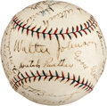 Autographs:Baseballs, 1925 Washington Senators Team Signed Baseball from PeckinpaughEstate....