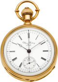 Timepieces:Pocket (pre 1900) , Ulysse Breting, Locle, High Grade 18K Gold Chronograph, circa 1880....