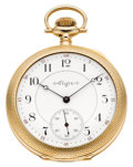 Timepieces:Pocket (pre 1900) , Elgin Choice Gold 21 Jewel Three Finger Bridge Grade 162, circa1897. ...
