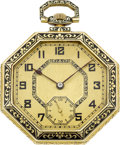 Timepieces:Pocket (post 1900), Longines Gold & Enamel Octagonal Watch, circa 1920. ...