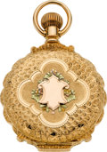 Timepieces:Pocket (pre 1900) , Swiss High Grade Multicolor Gold Scalloped Edge Box Hinge Hunters Case, circa 1898. ...