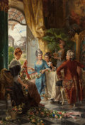 Fine Art - Painting, European:Antique  (Pre 1900), CARL HERPFER (German, 1836-1897). Weaving Garlands. Oil oncanvas. 34-7/8 x 24-1/8 inches (88.6 x 61.3 cm). Signed lower...