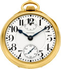 Timepieces:Pocket (post 1900), Waltham Vanguard 18k Gold Cased 23 Jewel Wind Indicator, circa1914. ...