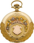 Timepieces:Pocket (post 1900), Illinois Exceptional Multicolor Gold Hunters Case, circa 1923. ...