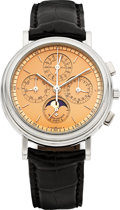 Timepieces:Wristwatch, Vacheron Constantin Ref. 49005/1 Very Fine Platinum Self-Winding Chronograph With Registers, Perpetual Calendar, Moon Phases &...