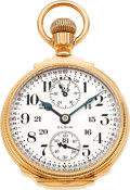 Timepieces:Pocket (post 1900), Elgin 23 Jewel Veritas Wind Indicator, 18 Size Gold Box Hinge,circa 1912. ...