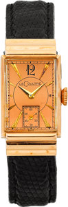 Timepieces:Wristwatch, LeCoultre Rose Gold Vintage Wristwatch, circa 1940's. ...