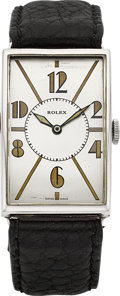 Timepieces:Wristwatch, Rolex Large Nickel Chrome Vintage Rectangular Wristwatch, circa1930's. ...
