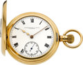 Timepieces:Pocket (post 1900), Waltham Scarce American Watch Co. 23 Jewel Bridge Model, Gold Demi-Hunter, circa 1909. ...