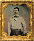 Western Expansion:Cowboy, AMBROTYPE IMAGE OF '49ER WITH A SILHOUETTE BOWIE KNIFE 1850's - The California '49er in this tinted ambrotype image has the ...