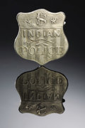 Western Expansion:Cowboy, HISTORIC AND RARE CIRCA 1885 U.S. INDIAN POLICE SHIELD BADGE CIRCA1880-95 - This magnificently worn badge is an iconic ...
