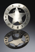 "Western Expansion:Cowboy, DEPUTY SHERIFF CIRCLE-STAR BADGE CIRCA 1900 - A nice circle-starbadge made of solid nickel silver, measuring 2"" round. The ...(Total: 1 Item)"