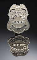 """Western Expansion:Cowboy, DEPUTY SHERIFF """"D W Y"""" SAN FRANCISCO SHIELD BADGE - """"ISSUED BY W.J. FITZGERALD - SHERIFF"""" CIRCA 1920 - A jeweler-made eagle...(Total: 1 Item)"""