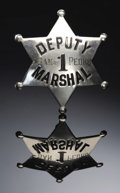 "Western Expansion:Cowboy, DEPUTY MARSHALL ""1"" - SAN PEDRO, CALIFORNIA SIX POINT STAR CIRCA1900 - A hallmarked and hand-engraved California six-point ...(Total: 1 Item)"