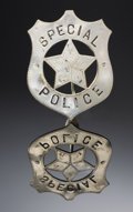"Western Expansion:Cowboy, ""SPECIAL POLICE"" STOCK BADGE CIRCA 1900-20 - This is a greatexample of a Special Police stock badge in a cut-out star shiel...(Total: 1 Item)"