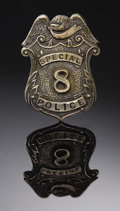 "Western Expansion:Cowboy, A BRASS SPECIAL POLICE NO. ""8"" BADGE CIRCA 1900-1920 - An unusualexample of a Special Police stock badge in eagle-topped sh..."