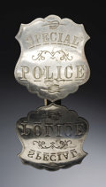 """Western Expansion:Cowboy, LARGE """"SPECIAL POLICE"""" BADGE CIRCA 1890-1900. - . This is a largeand imposing example of a Special Police badge in shield f...(Total: 1 Item)"""