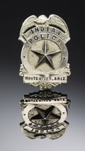 "Western Expansion:Cowboy, WHITERIVER, ARIZONA ""FORT APACHE"" INDIAN POLICE BADGE CIRCA 1910 -This eagle-topped shield badge features a large center s..."