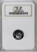 Proof Roosevelt Dimes: , 1963 10C PR68 NGC. NGC Census: (503/157). PCGS Population(173/168). Mintage: 3,075,645. Numismedia Wsl. Price: $21.(#5238...