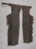 Western Expansion:Cowboy, CLARK, PORTLAND OREGON SHOTGUN CHAPS ca. 1890 - Leggings with longfringe, outside pockets, and contoured cuffs; Marked on b...