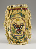 American Indian Art:Beadwork, A SIOUX BEADED HIDE POUCH. c. 1915...