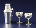 Silver Holloware, American:Other , An American Art Deco Silver Cocktail Shaker and Two Goblets.Unknown maker, American. Circa 1930-1940. Silver. Marks: R,...(Total: 3 Items)