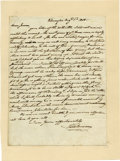 "Autographs:Statesmen, Jacob Broom Autograph Letter Signed ""Jaco: Broom,"" one page,8"" x 10.75"". Wilmington, August 1, 1808. Integral leaf addr..."