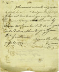 """Autographs:Statesmen, Daniel Carroll Autograph Letter Signed """"D. Carroll,"""" one page, 7"""" x 8.75"""". Baltimore, July 7, 1779. Addressed on verso b... (Total: 1 Item)"""