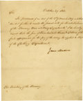 "Autographs:U.S. Presidents, James Madison Manuscript Letter Signed ""James Madison"" asPresident, one page, 7.5"" x 9"". [Washington], October 29, 1812...(Total: 1 Item)"