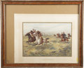 Western Expansion:Cowboy, LITHOGRAPH U. S. ARMY CAVALRY PURSUING INDIANS-1876 ca. 1899 - ThisWerner lithograph of Cavalry Troops chasing Indians was ... (Total:1 Item)