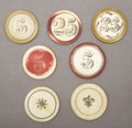 "Western Expansion:Cowboy, LOT OF 7 IVORY GAMING CHIPS CIRCA LATE 19TH CENTURY - . a) Fleur delis design, some slight yellowing. b) ""25"" with ... (Total: 7Items)"