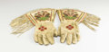 American Indian Art:Beadwork, A PAIR OF PLATEAU BEADED HIDE GAUNTLETS. c. 1910. ... (Total: 2Items)