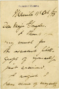 "Autographs:Military Figures, George Dewey Autograph Letter Signed ""George Dewey,"" two pages, 4"" x 6"", separate conjoined sheets. Flagship Olympia, Ma... (Total: 1 Item)"