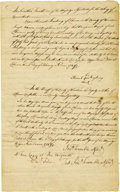 """Autographs:Military Figures, Jonathan Trumbull Manuscript Document Signed """"Jonth Trumbull Assist."""" five times, three pages, 7.5"""" x 12.25"""", front ..."""