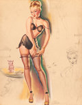 Pin-up and Glamour Art, FREEMAN ELLIOT (American, b. 1922). I've Cleaned Out the Bank toPlay Santa Claus, Artist's Sketch Pad, calendar pin-up,...