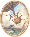 Antiques:Decorative Americana, Addington Frye Miniature Painting of a Hot Air BalloonIncident,19th Century....