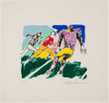 Football Collectibles:Others, Circa 1970's Leroy Neiman Signed Football Serigraph....