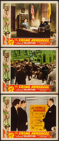 """Movie Posters:Crime, The Crime Newsreel (American Newsreels Inc., 1940). Lobby Cards (3) (11"""" X 14"""") """"Issue 1."""" Crime.. ... (Total: 3 Items)"""