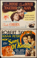 "Movie Posters:War, Song of Russia & Other Lot (MGM, 1944). Half Sheets (2) (22"" X28"") Style B & Regular. War.. ... (Total: 2 Items)"