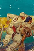 Mainstream Illustration, LESLIE ROSS (American, 1910-1989). The Baseball Players, probable magazine cover. Oil on canvas. 30 x 21 in.. Partial in...