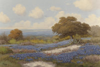 C.P. MONTAGUE (American, 20th Century) Bluebonnets and Indian Paintbrush Wildflowers Oil on canvas