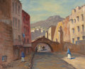 Texas:Early Texas Art - Regionalists, ROLLA SIMS TAYLOR (American, 1872-1970). Streets ofGuanajuato, 1959. Oil on canvas. 16 x 20 inches (40.6 x 50.8cm). Si...