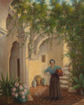 Texas:Early Texas Art - Regionalists, EMIL HERMANN (American, 1870-1966). Court in Arcos de laFrontera, Spain, 1942. Oil on canvas. 29 x 23 inches (73.7 x58...